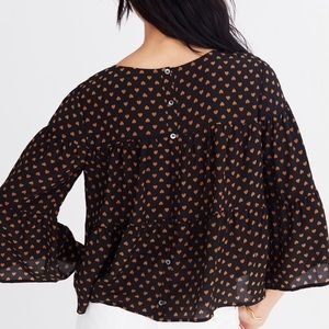 Madewell Black/Gold Tiered In Heart Flip Blouse